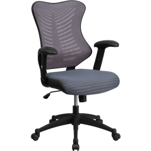 Wholesale High Back Designer Gray Mesh Executive Swivel Ergonomic Office Chair with Adjustable Arms