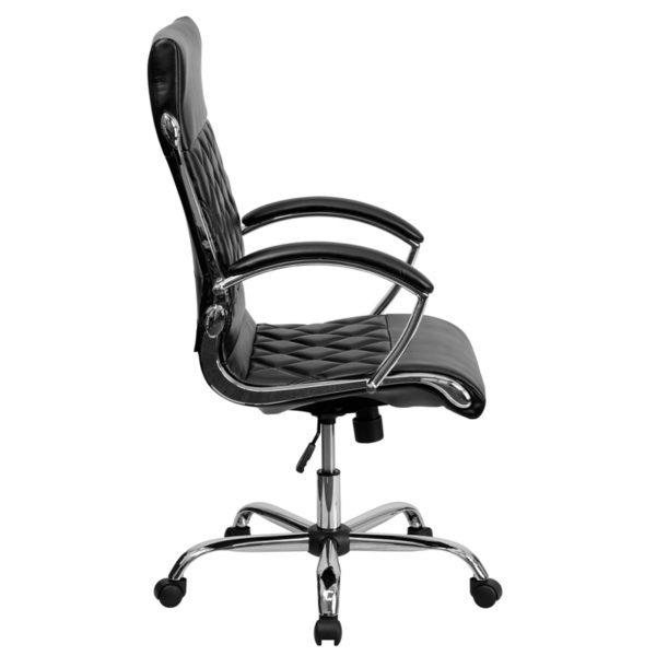Lowest Price High Back Designer Quilted Black Leather Executive Swivel Office Chair with Chrome Base and Arms