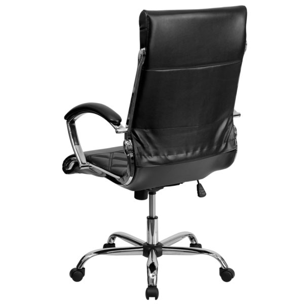 Contemporary Office Chair Black High Back Leather Chair