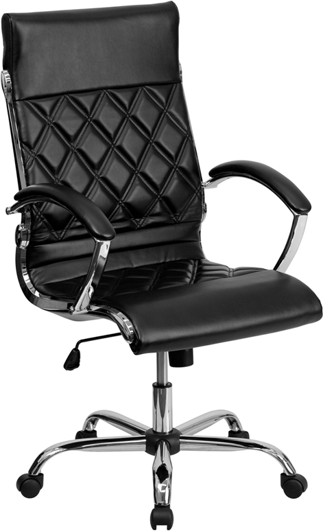 Wholesale High Back Designer Quilted Black Leather Executive Swivel Office Chair with Chrome Base and Arms