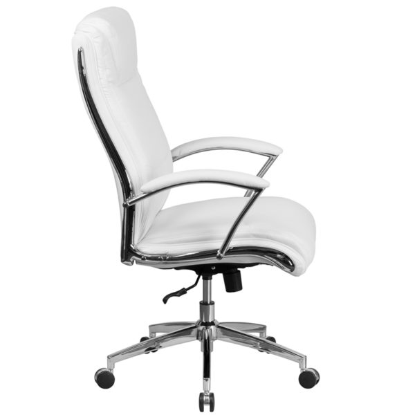 Lowest Price High Back Designer White Leather Smooth Upholstered Executive Swivel Office Chair with Chrome Base and Arms