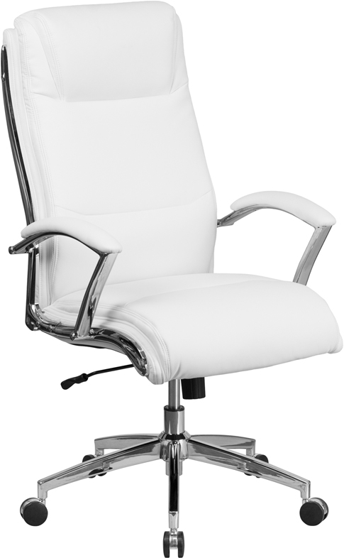 Wholesale High Back Designer White Leather Smooth Upholstered Executive Swivel Office Chair with Chrome Base and Arms