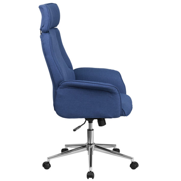 Lowest Price High Back Desk Chair |Blue Upholstered Swivel Chair for Desk and Office