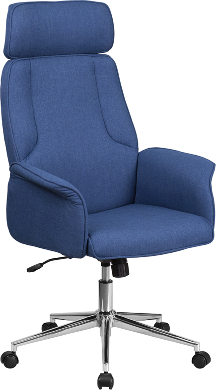 Wholesale High Back Desk Chair |Blue Upholstered Swivel Chair for Desk and Office