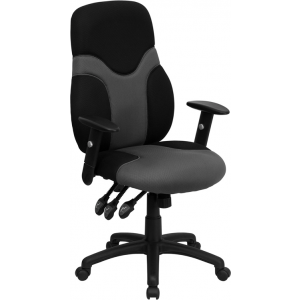 Wholesale High Back Ergonomic Black and Gray Mesh Swivel Task Office Chair with Adjustable Arms