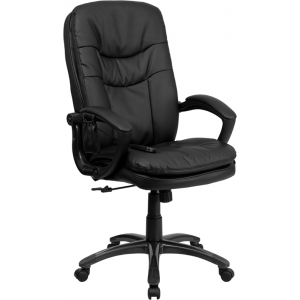 Wholesale High Back Ergonomic Massaging Black Leather Executive Swivel Office Chair with Remote Pocket and Arms