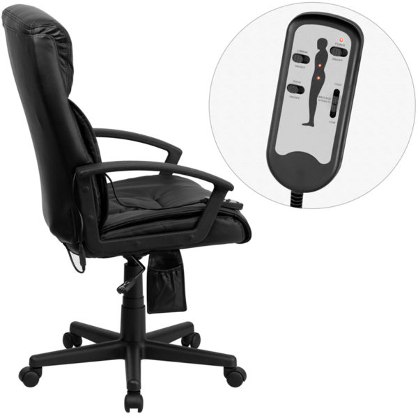 Lowest Price High Back Ergonomic Massaging Black Leather Executive Swivel Office Chair with Side Remote Pocket and Arms
