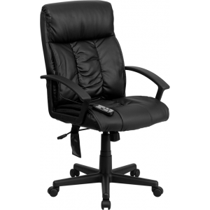 Wholesale High Back Ergonomic Massaging Black Leather Executive Swivel Office Chair with Side Remote Pocket and Arms