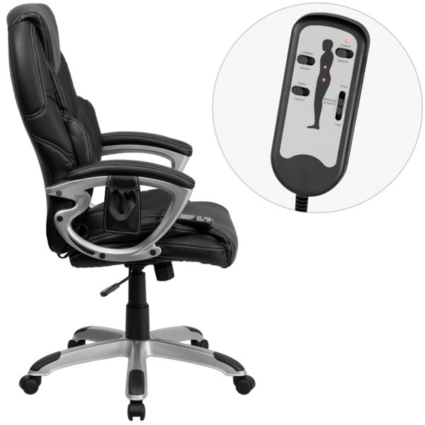 Lowest Price High Back Ergonomic Massaging Black Leather Executive Swivel Office Chair with Silver Base and Arms