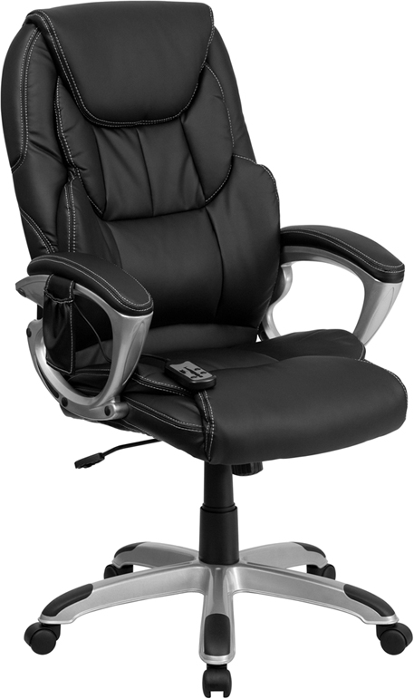 Wholesale High Back Ergonomic Massaging Black Leather Executive Swivel Office Chair with Silver Base and Arms