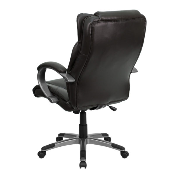 Contemporary Office Chair Brown High Back Leather Chair
