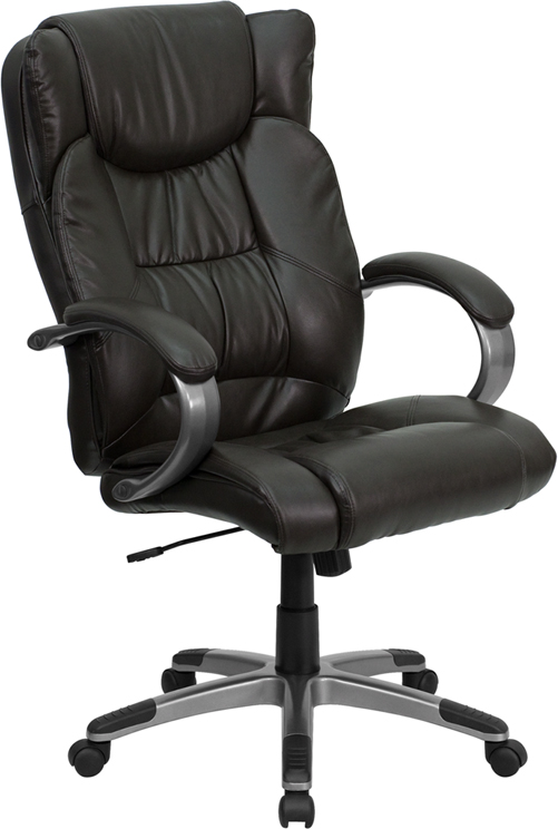 Wholesale High Back Espresso Brown Leather Executive Swivel Office Chair with Titanium Nylon Base and Loop Arms