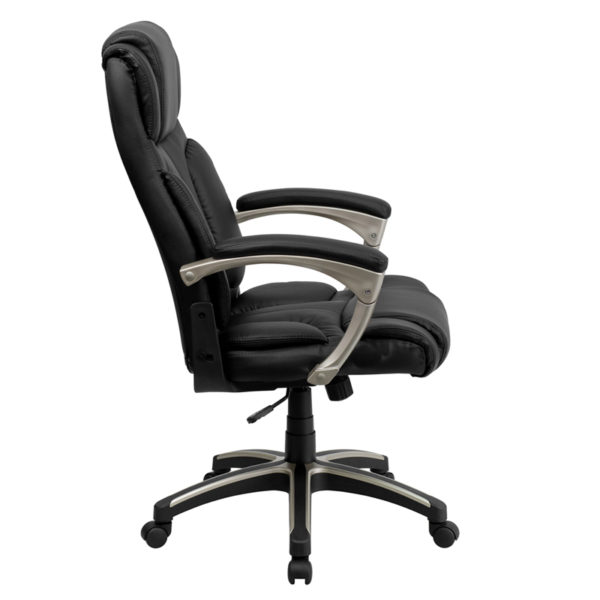 Lowest Price High Back Folding Black Leather Executive Swivel Office Chair with Arms