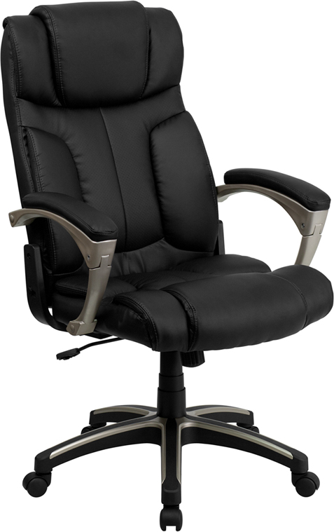 Wholesale High Back Folding Black Leather Executive Swivel Office Chair with Arms