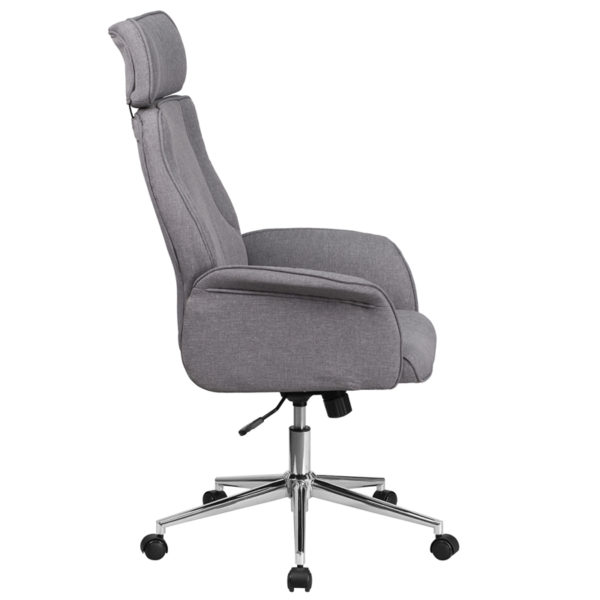 Lowest Price High Back Gray Fabric Executive Swivel Office Chair with Chrome Base and Fully Upholstered Arms