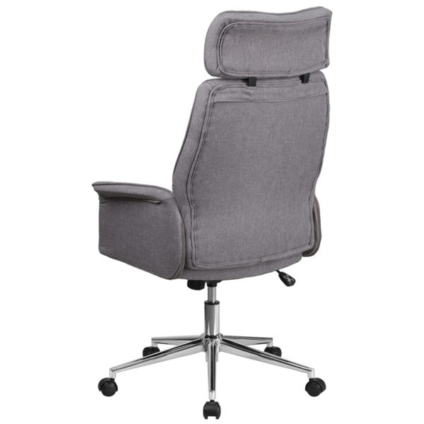 Contemporary Office Chair Gray High Back Fabric Chair