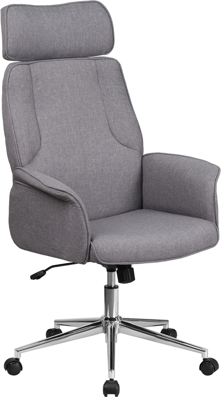 Wholesale High Back Gray Fabric Executive Swivel Office Chair with Chrome Base and Fully Upholstered Arms