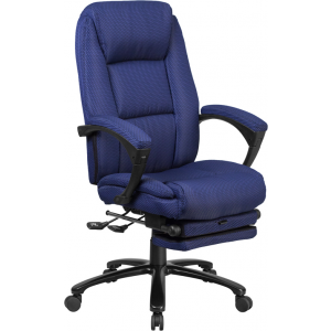 Wholesale High Back Navy Fabric Executive Reclining Ergonomic Swivel Office Chair with Comfort Coil Seat Springs and Arms