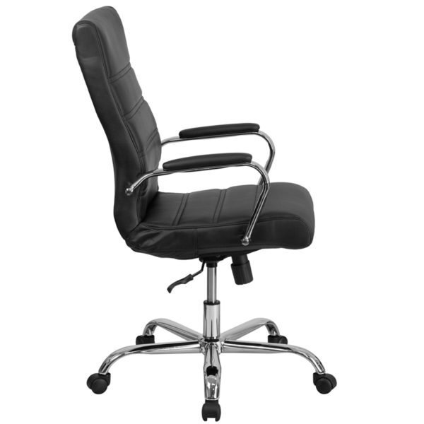 High back office chair with wheels Black High Back Leather Chair