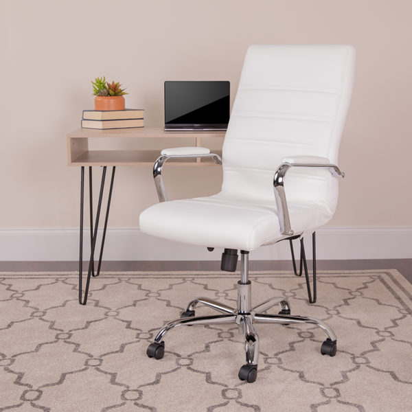Lowest Price High Back Office Chair   White LeatherSoft Office Chair with Wheels and Arms