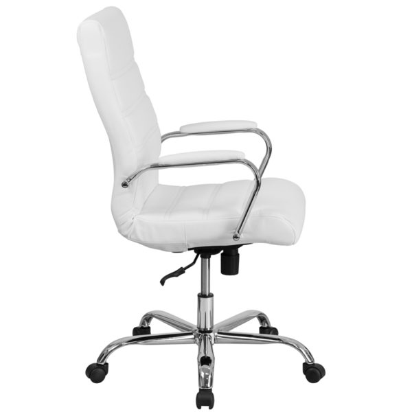 High back office chair with wheels White High Back Leather Chair