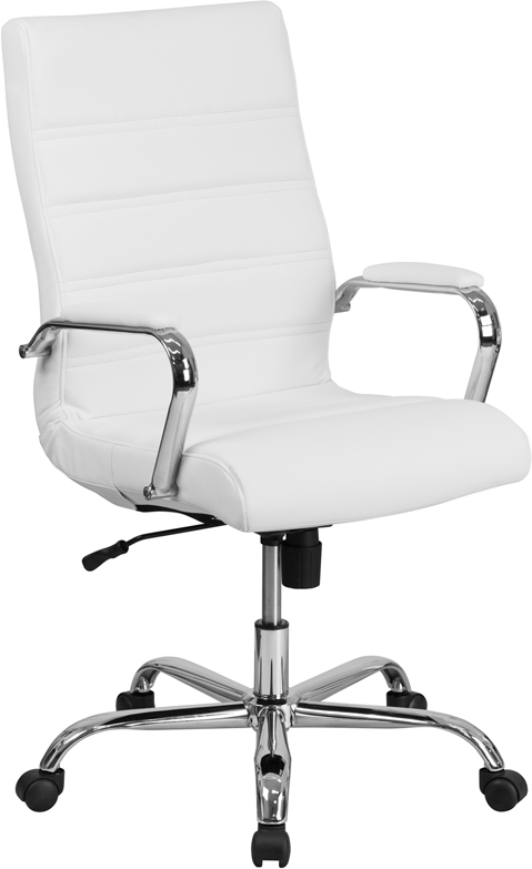 Wholesale High Back Office Chair   White LeatherSoft Office Chair with Wheels and Arms