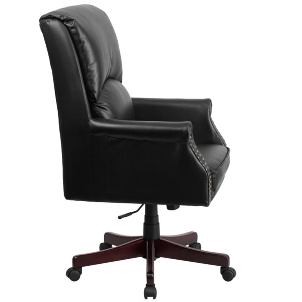 Lowest Price High Back Pillow Back Black Leather Executive Swivel Office Chair with Arms