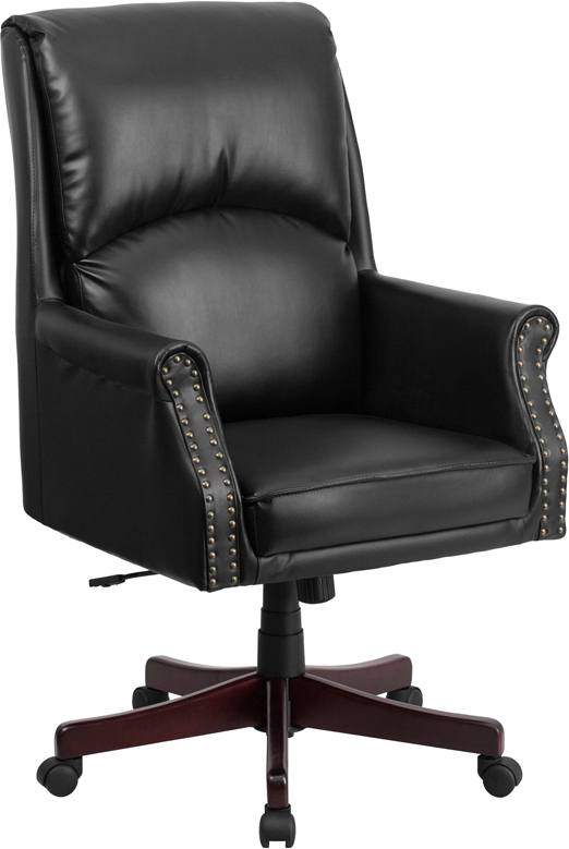 Wholesale High Back Pillow Back Black Leather Executive Swivel Office Chair with Arms