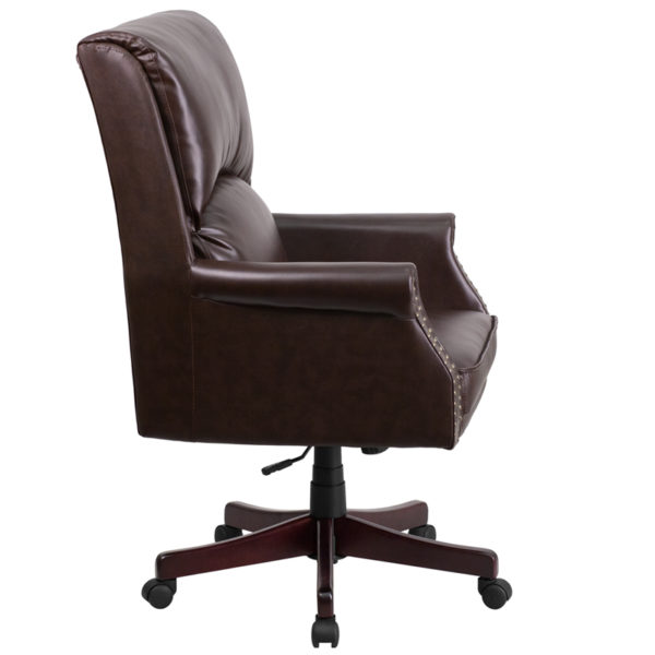 Lowest Price High Back Pillow Back Brown Leather Executive Swivel Office Chair with Arms