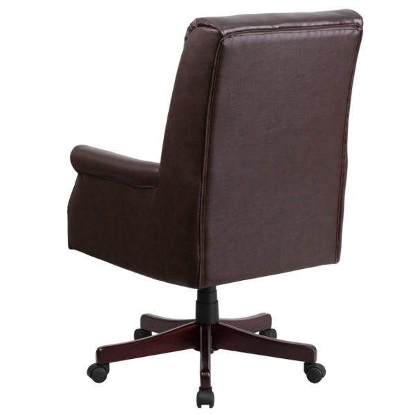 Traditional Office Chair Brown High Back Leather Chair