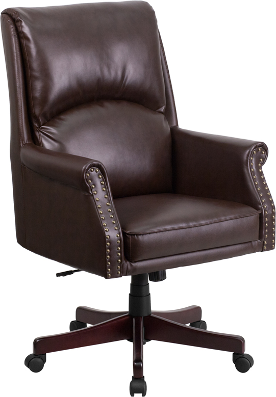 Wholesale High Back Pillow Back Brown Leather Executive Swivel Office Chair with Arms