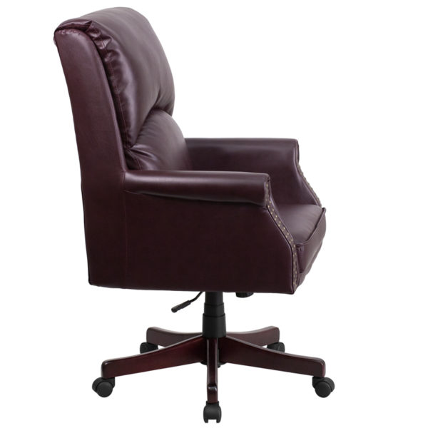 Lowest Price High Back Pillow Back Burgundy Leather Executive Swivel Office Chair with Arms