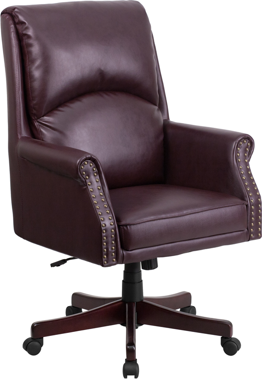 Wholesale High Back Pillow Back Burgundy Leather Executive Swivel Office Chair with Arms
