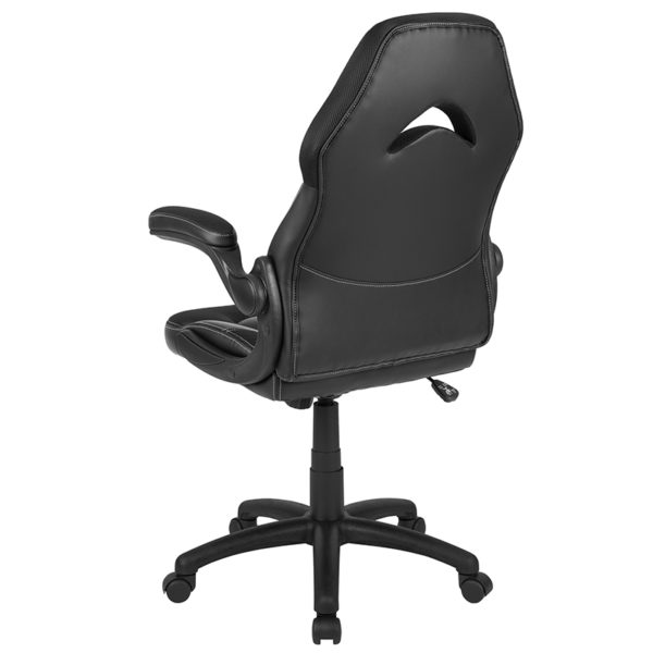 Contemporary Swivel Video Game Chair Black Racing Gaming Chair