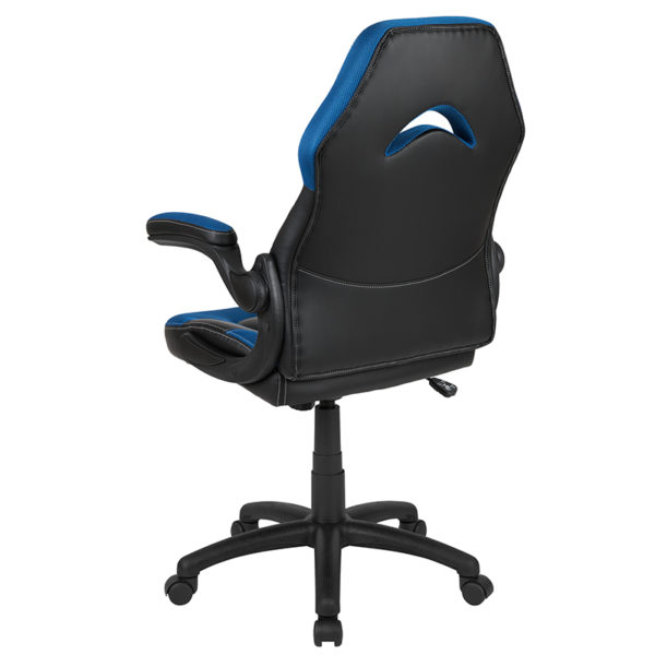 Contemporary Swivel Video Game Chair Black/Blue Racing Gaming Chair
