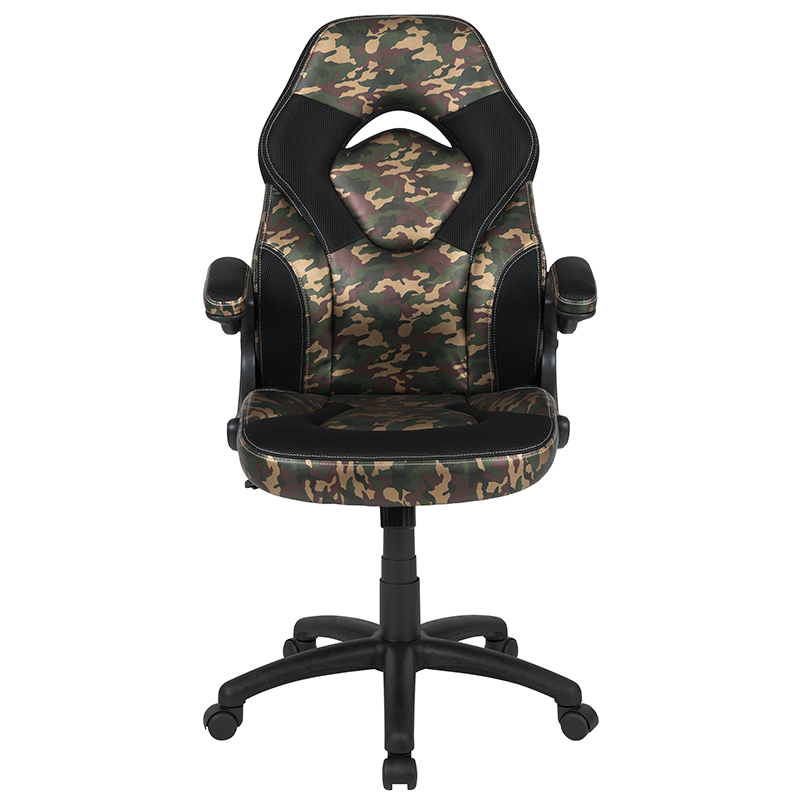 High Back Racing Style Ergonomic Gaming Chair With Flip Up Arms Camouflage Black Leathersoft Restaurant Furniture Org