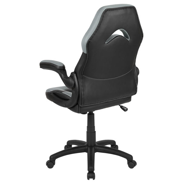 Contemporary Swivel Video Game Chair Gray/Black Racing Gaming Chair