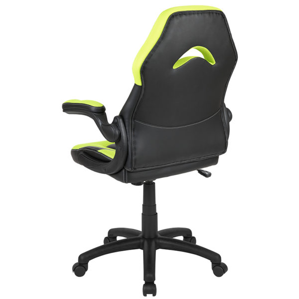 Contemporary Swivel Video Game Chair Neon Green Racing Gaming Chair