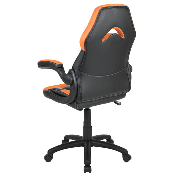 Contemporary Swivel Video Game Chair Orange Racing Gaming Chair