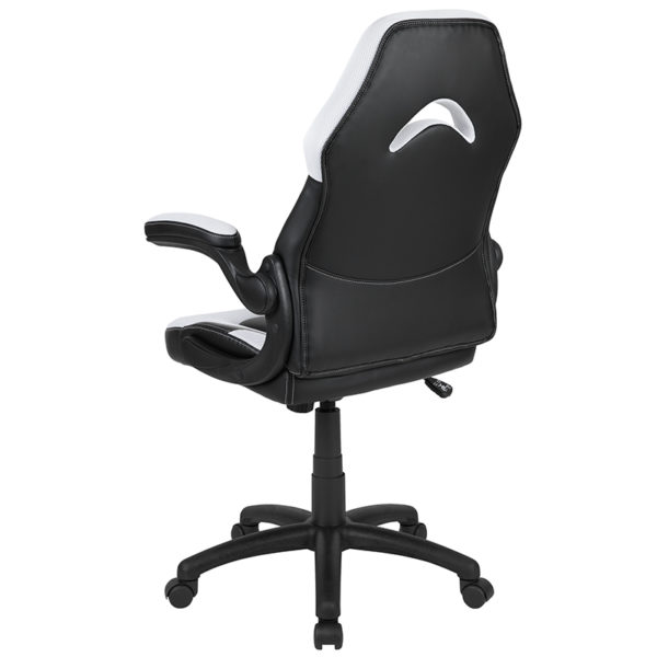 Contemporary Swivel Video Game Chair White Racing Gaming Chair