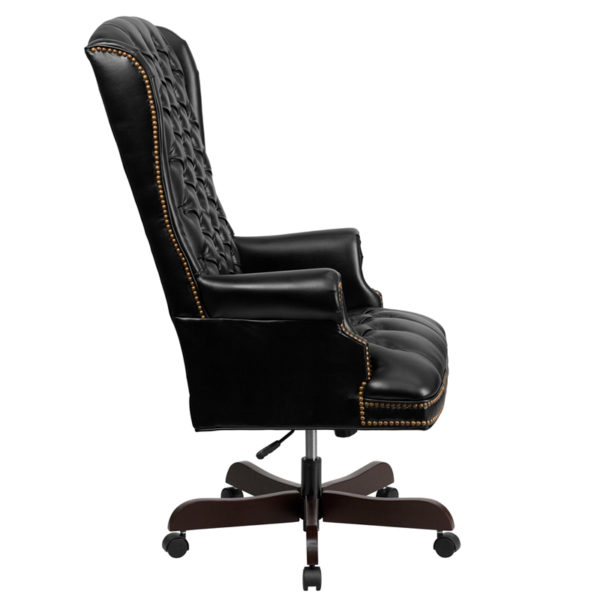 Lowest Price High Back Traditional Fully Tufted Black Leather Executive Swivel Ergonomic Office Chair with Arms