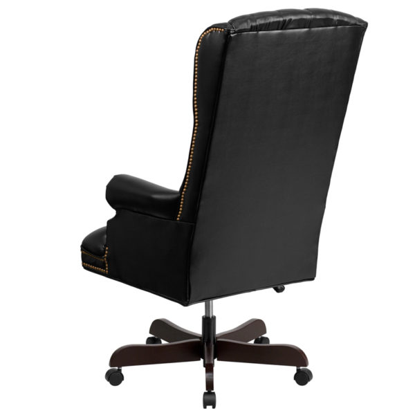Traditional Office Chair Black High Back Leather Chair
