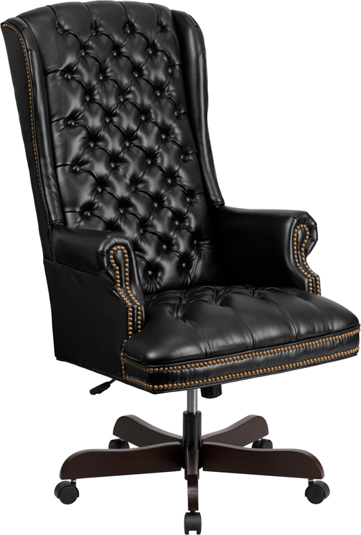 Wholesale High Back Traditional Fully Tufted Black Leather Executive Swivel Ergonomic Office Chair with Arms