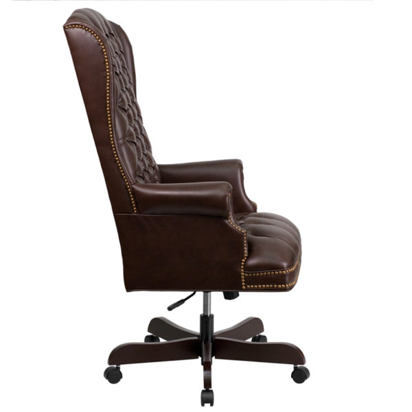 Lowest Price High Back Traditional Fully Tufted Brown Leather Executive Swivel Ergonomic Office Chair with Arms