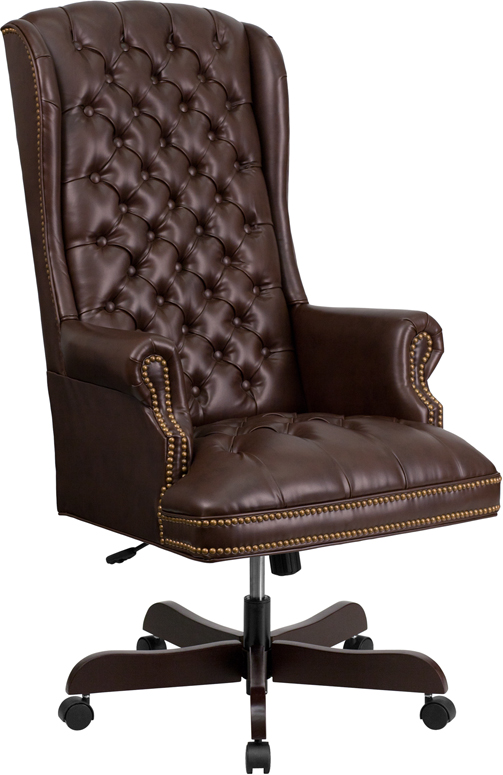 Wholesale High Back Traditional Fully Tufted Brown Leather Executive Swivel Ergonomic Office Chair with Arms