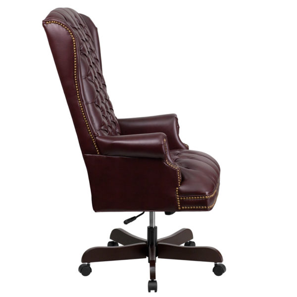 Lowest Price High Back Traditional Fully Tufted Burgundy Leather Executive Swivel Ergonomic Office Chair with Arms