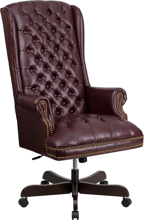 Wholesale High Back Traditional Fully Tufted Burgundy Leather Executive Swivel Ergonomic Office Chair with Arms