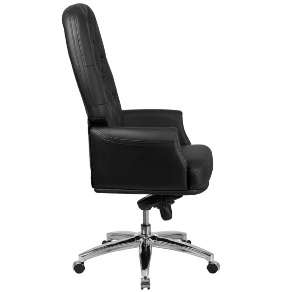 Lowest Price High Back Traditional Tufted Black Leather Multifunction Executive Swivel Ergonomic Office Chair with Arms