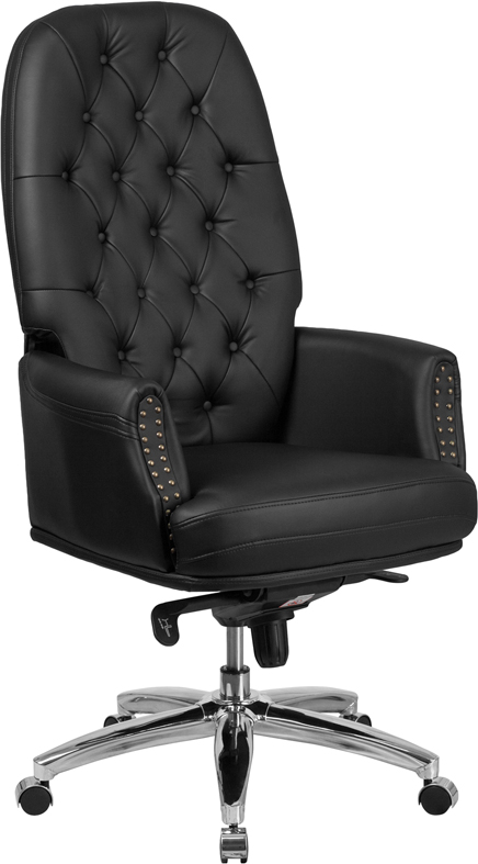 Wholesale High Back Traditional Tufted Black Leather Multifunction Executive Swivel Ergonomic Office Chair with Arms