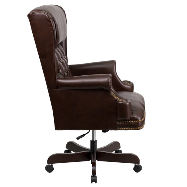 Lowest Price High Back Traditional Tufted Brown Leather Executive Ergonomic Office Chair with Oversized Headrest & Nail Trim Arms